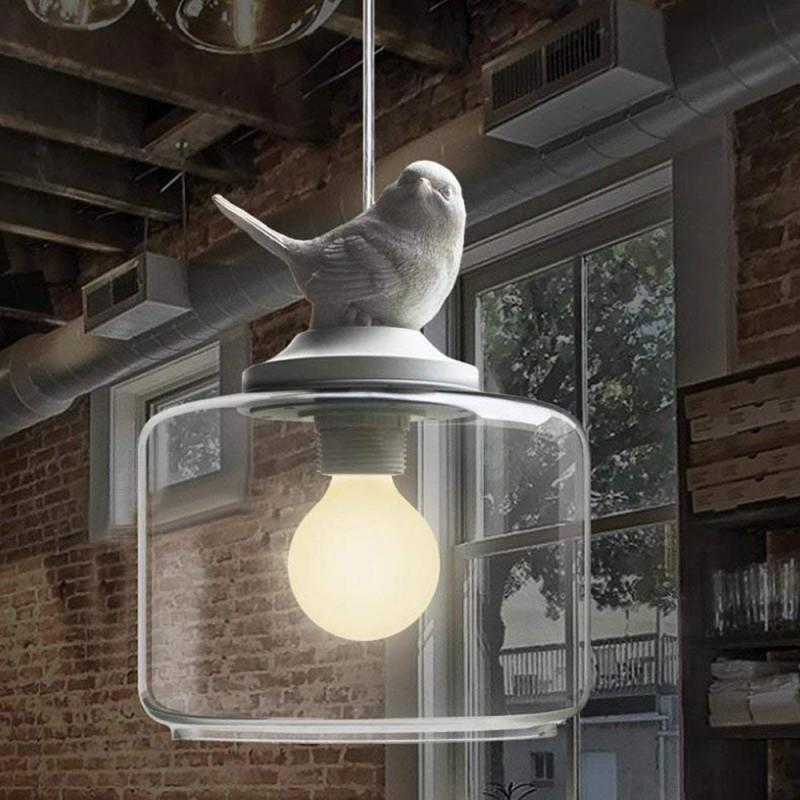 Suspension Lustre Romantique Oiseau en résine Abat-jour avec Clair Verre Pendant Lampe Ceiling Light Chandelier