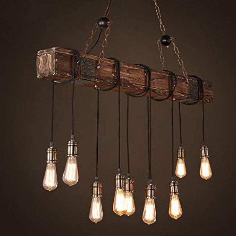 Lustre Plafonnier Suspension Lampe Industriel Vintage Avec Bois Et