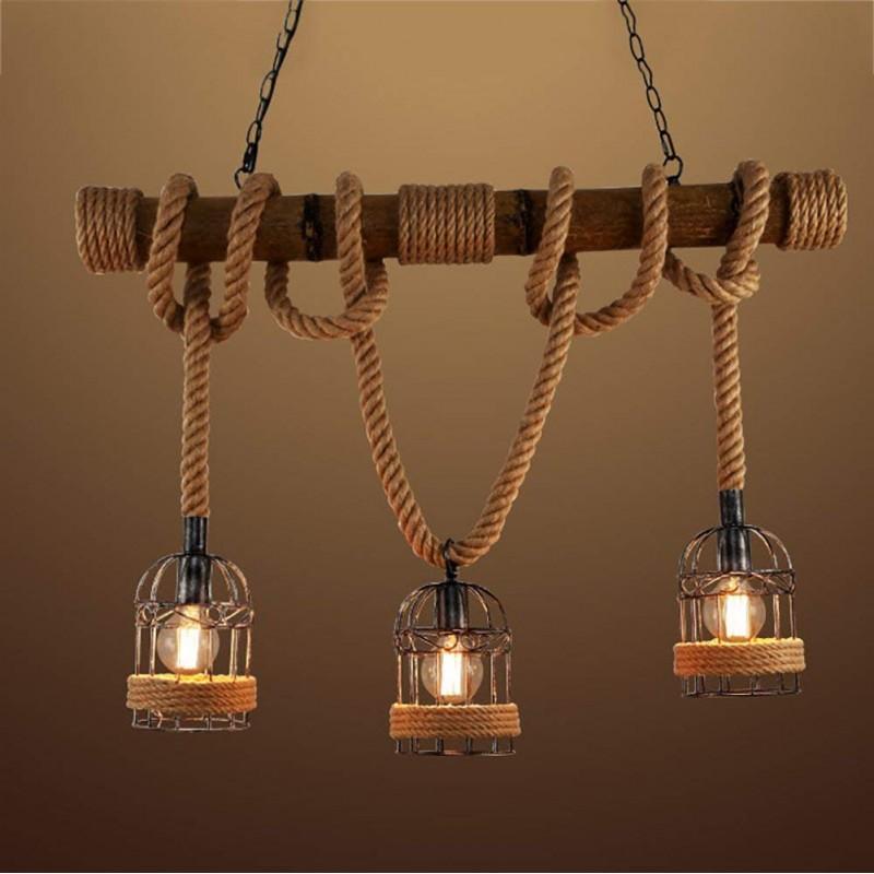 Rétro Corde De Chanvre Lustre Personnalité Créative Bambou E27 * 3 Lampes Décoration Plafonnier