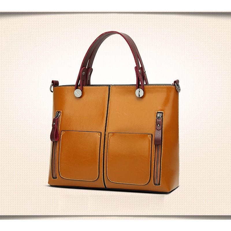 Mode européenne et américaine de la cire à l'huile en cuir grand sac d'épaule diagonale sac de tueur rétro portable