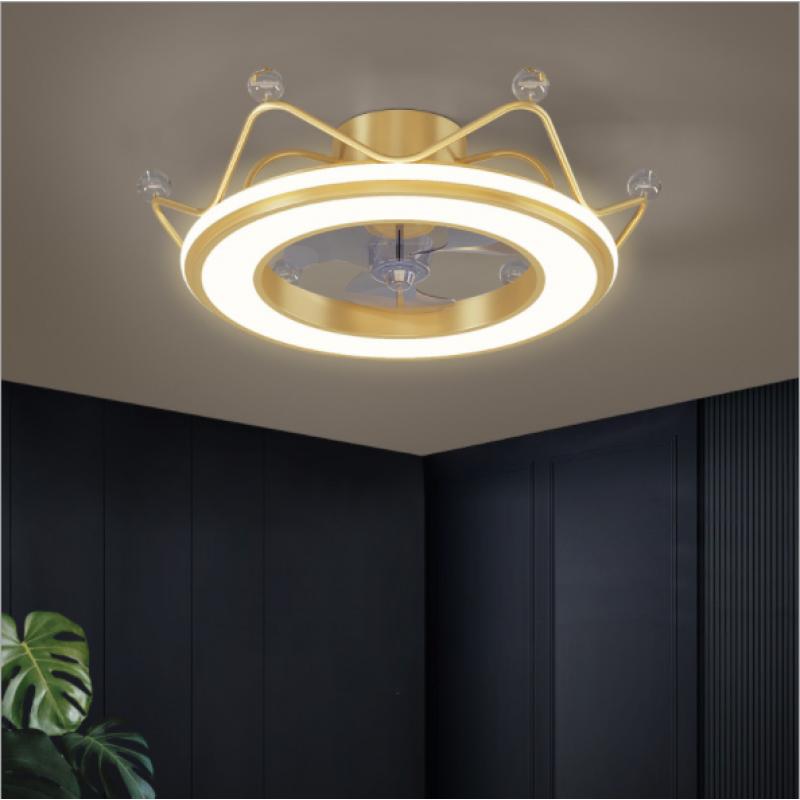 Plafonnier de la chambre des enfants LED lampe de chambre à coucher couronne créative dessin animé mode garçon et fille lampe ventilateur invisible