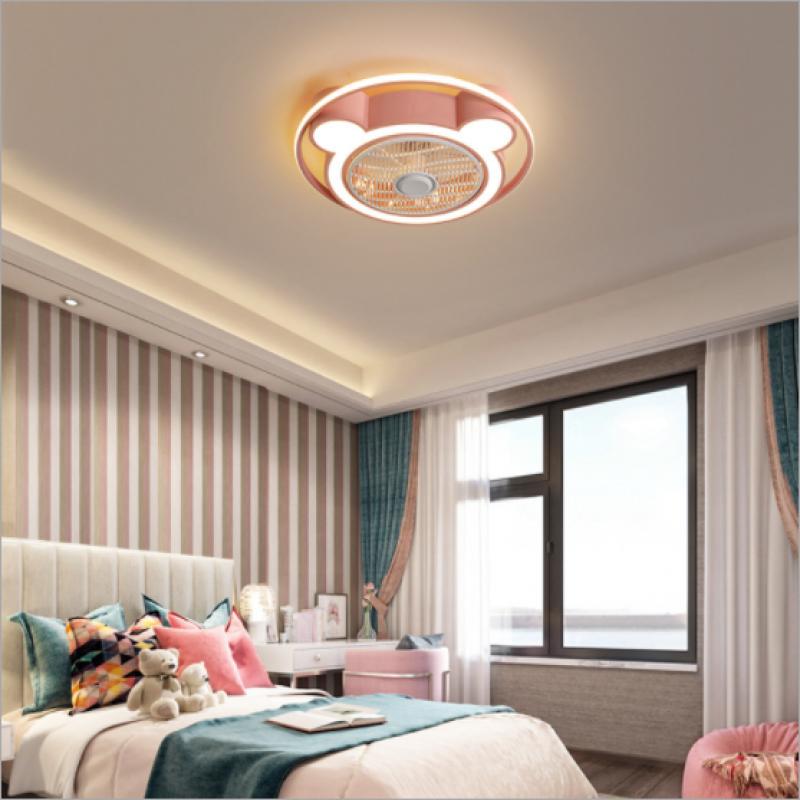Lampe de ventilateur invisible de chambre d'enfants nordique lampe de plafond de chambre de garçon et de fille minimaliste moderne LED lampes chaudes
