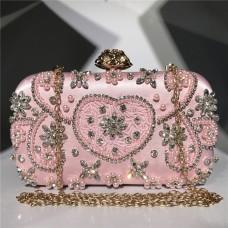 Sac de soirée à main, sac à main artisanal incliné à la mode en diamant brodé perlé à la main