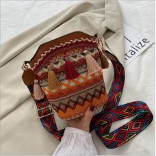 Mode femme sac style ethnique personnalité une épaule sac messager gland seau sac femme