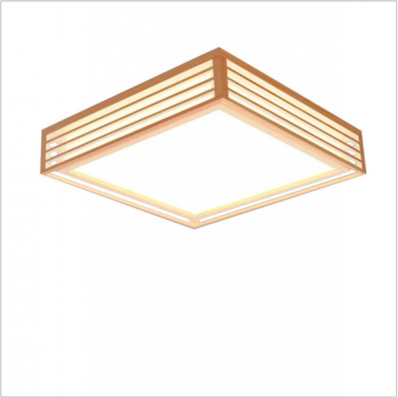 Plafonnier LED de style japonais Chambre en bois carrée de style chinois Lampe décorative nordique