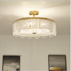 Lustre de salon en fer forgé chambre plafonnier rond lumière domestique lampe de salon minimaliste post-moderne de luxe