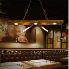Bougeoir créatif de style industriel rétro lustre restaurant café bar bar lampe longue piste en bois