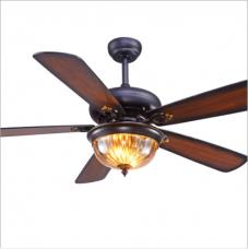 Salle à manger ventilateur de plafond lumière américaine rétro télécommande ventilateur lumière pour salon Antique en bois feuille ventilateur électrique lustre