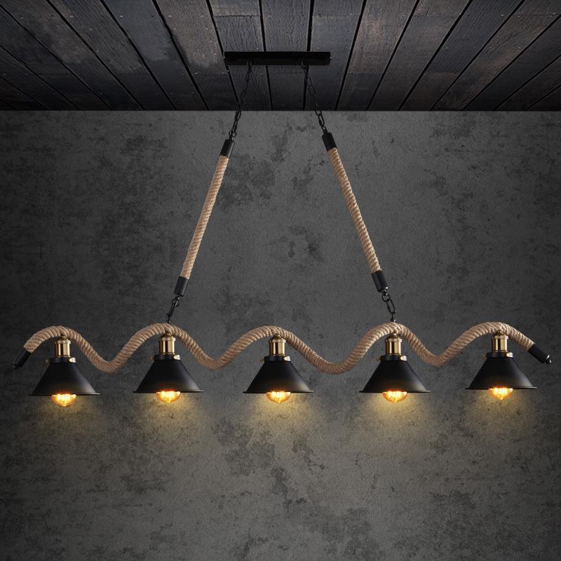 LOFT Rétro Industriel Trois Têtes De Chanvre Corde Lustre Américain Bar Restaurant Salle À Manger Cuisine Plafond Pendentif Lumières Cinq Têtes De Fer Lumières Intérieures