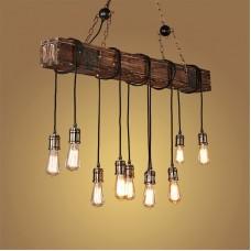 Lustre Plafonnier Suspension Lampe Industriel Vintage avec Bois et Métal Réglable pour E27*10 Suspendu éclairage 118cm