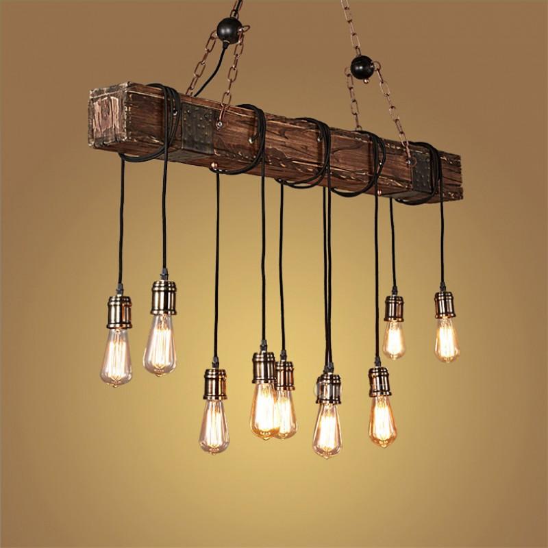 Lustre Plafonnier Suspension Lampe Industriel Vintage avec Bois et Métal Réglable pour E27*10 Suspendu éclairage