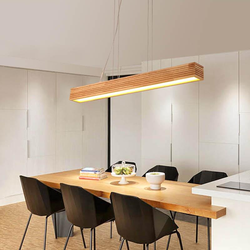 LED Lustre en Bois Massif Rectangulaire Salle À Manger Salon Chambre Bar Bureau Lustre en