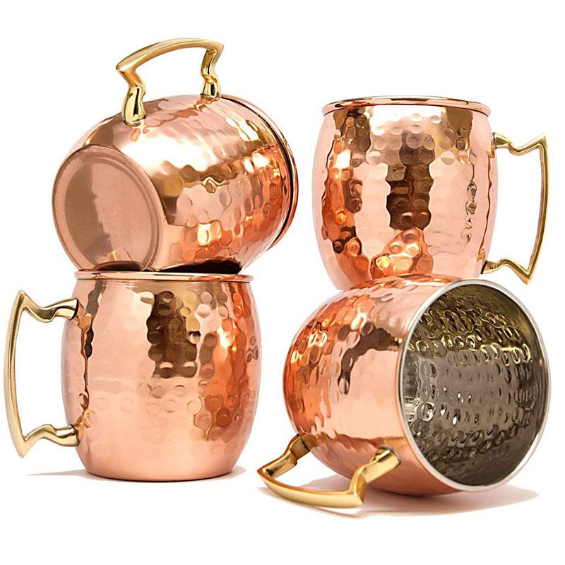 Moscow Mule Mugs Set, Coupelles en cuivre Mule Moscow avec doublure en acier inoxydable,Ensemble de 4
