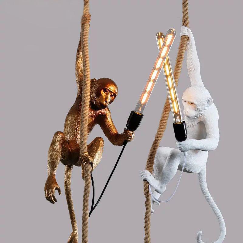 Creative singe pendentif lumière industrielle vintage résine lustre Lustre en corde de chanvre E27