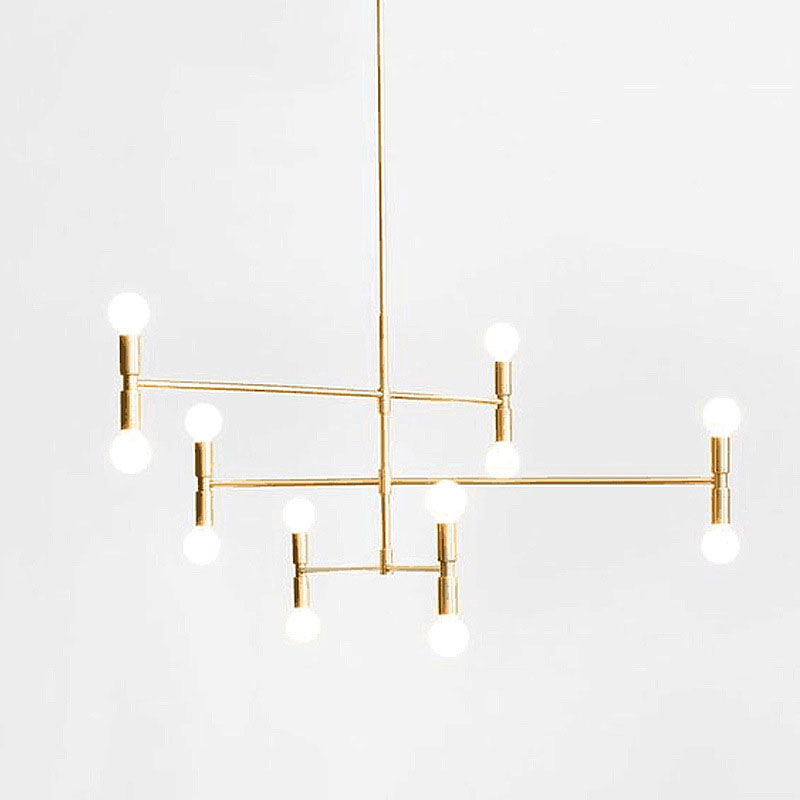 Lustre à suspension à 12 ampoules au milieu du siècle moderne - doré