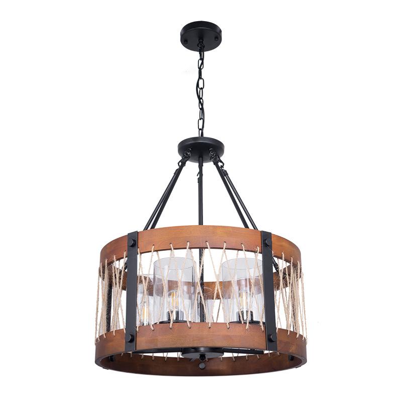 Lustre rustique moderne rond bois cinq lumières ferme lustres île en bois pendentif luminaire corde en métal rétro plafonniers pour salle à manger cuisine chambre couloir Foyer Bar