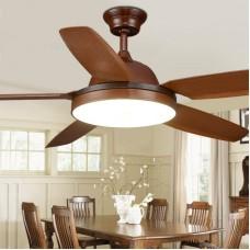 Ventilateur de plafond à 5 lampes de luxe en plastique à une lumière, ventilateur de plafond à LED, 56 pouces, brun