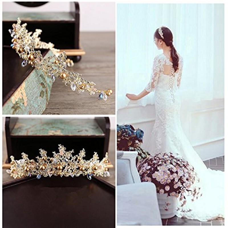 Cristal Strass Couronne Or Diadème Pour Femmes Perle Fleur Accessoires De Cheveux De Mariée