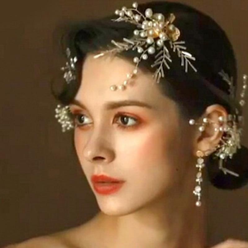 Clip de mariée en or Tiara fleur côté clip coiffe boucles d'oreilles accessoires pour cheveux costume deux pièces