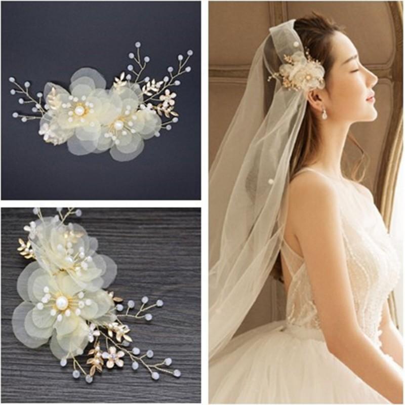 Voile de mariage mariée fée riz perle en soie fleur coiffe mariée diadème mariage robe accessoires