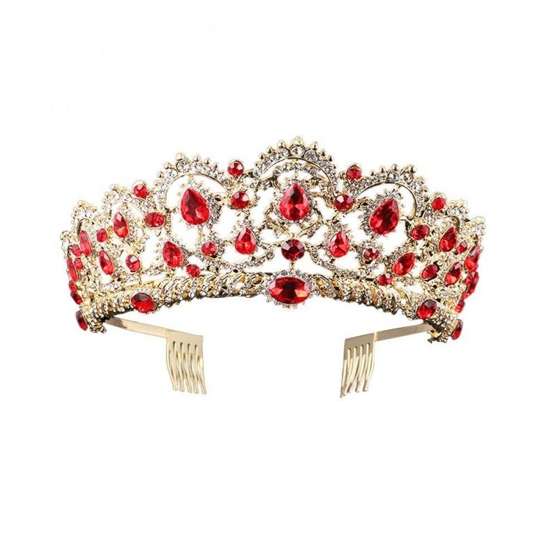 Baroque Royal Queen Or Mariage Couronne De Cristal Princesse Tiara Bandeaux pour les Femmes Bridal Party Anniversaire Headpieces