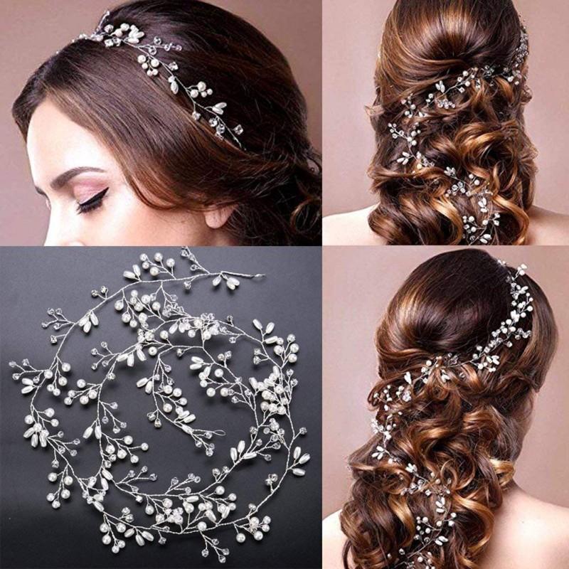100cm Main Cristal De Luxe Perle Longue Bandeau De Mariée Bandeau Strass Bandeaux Bandeaux De Mariage Accessoires De Cheveux De Mariée Tête Chaîne