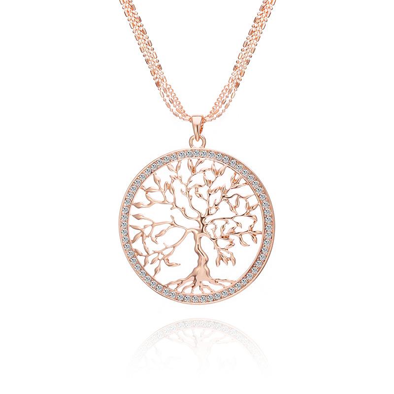 Créatif Vie Naturelle Arbre Creux Alliage De La Paix Arbre Collier Accessoires Chandail Chaîne Cadeau Pour Les Femmes