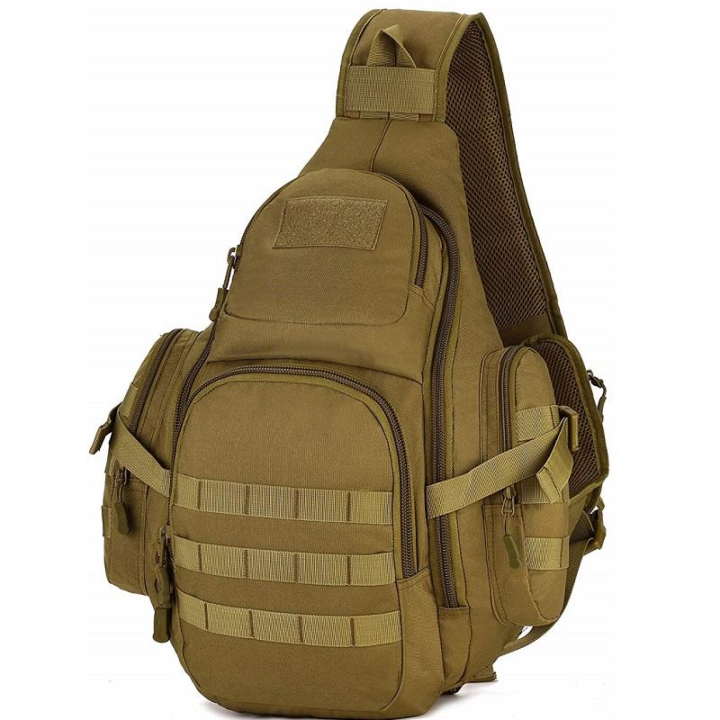 Sac tactique militaire Sling Chest Pack Sac à dos Sac à dos pour ordinateur portable Grand sac à bandoulière Sac à bandoulière Crossbody Duty Vitesse pour la chasse Camping Trekking