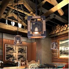 Lustre en métal et bois pendentif lumière rétro rustique loft antique lampe Edison tuyau Vintage applique luminaires décoratifs et plafonnier luminaire