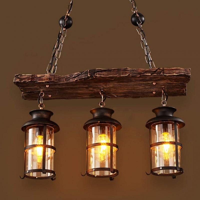 Lustre industriel vintage - lampes en bois créatives