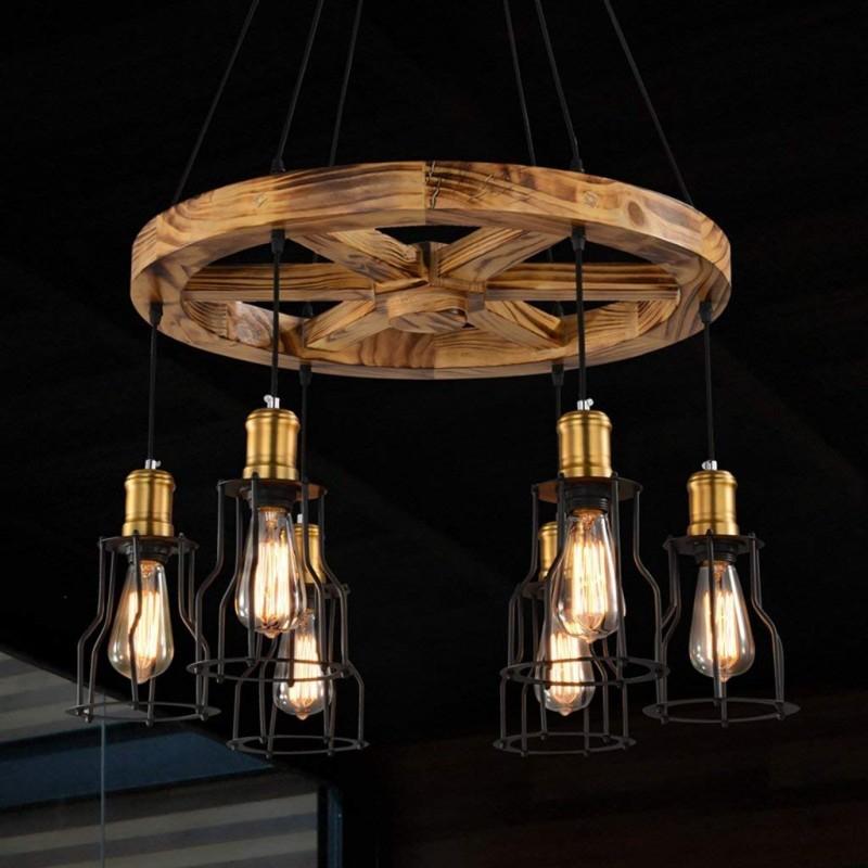 Lustre moderne en abat-jour en fer avec suspension ronde en bois Bar Industriel
