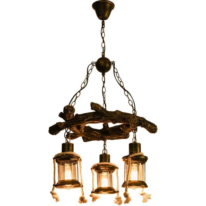 Loft Vintage Chandelier Creative Antique En Bois Pendentif Lampe Corde De Chanvre 3 Flammes Ronde En Verre Métal Bronze Décoratif