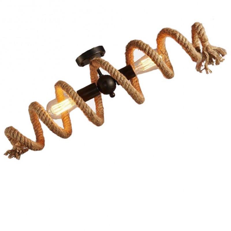 Rétro corde de chanvre anneau de plafond lampe de plafond éclairage décoratif chandelier corde de fer de chanvre