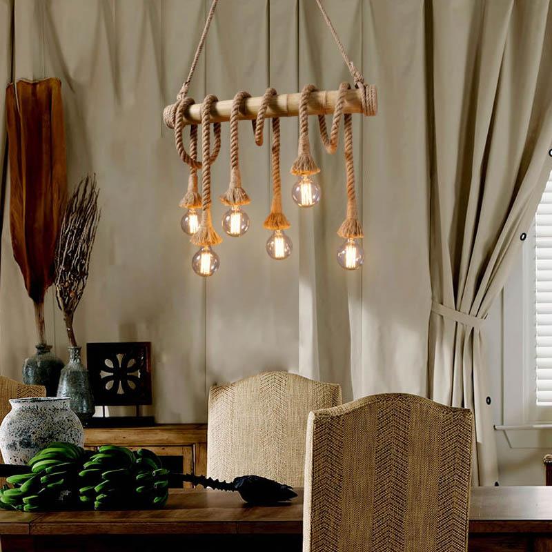Suspension en corde de chanvre rétro - éclairage de plafond de table à manger - suspension en bambou