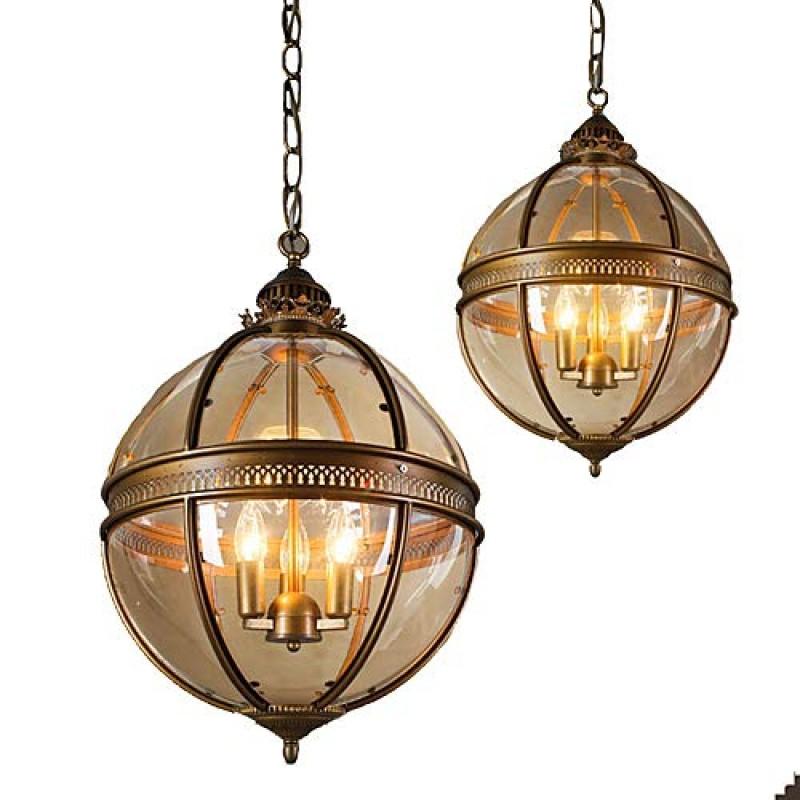 Lustre en verre rond pour chambre et salle à manger - Luminaires suspendus - Lustre vintage à 3 ampoules