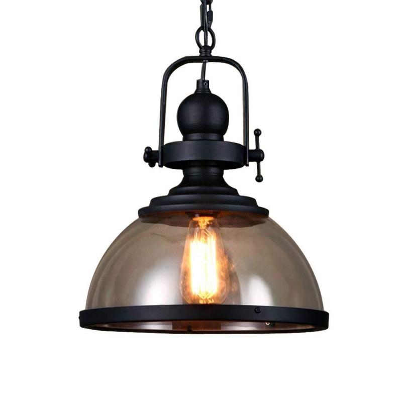 Lampe suspension rétro abat-jour en verre design rond cuisine vintage lampe suspendue en fer