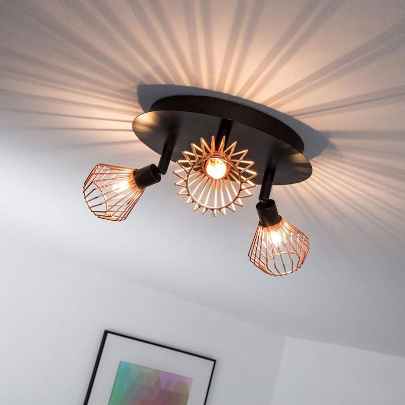Plafonnier rétro design à LED avec cache en cuivre