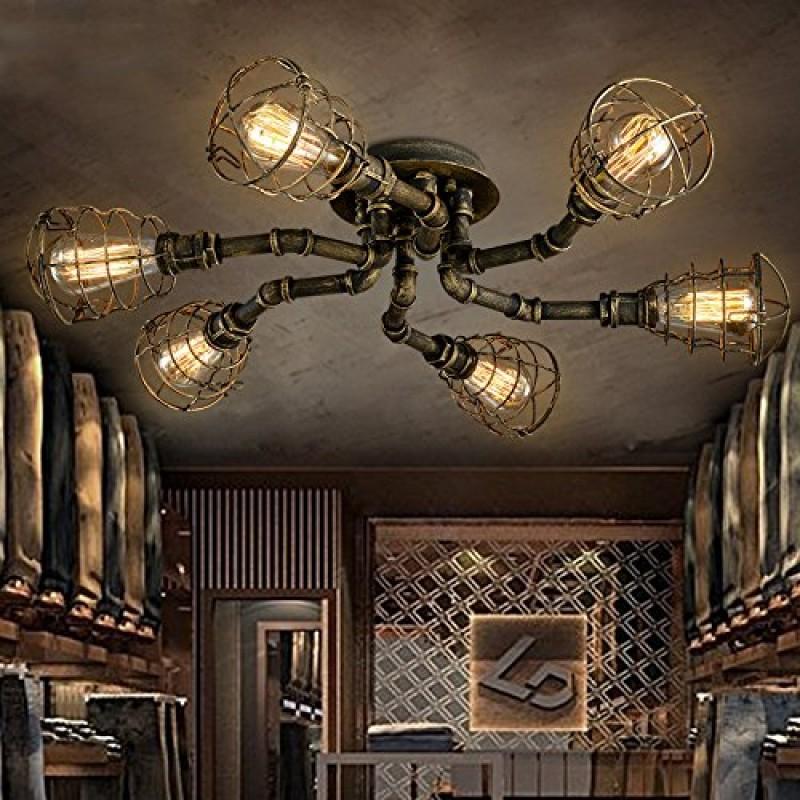 Plafonnier Luminaire Design Tube Tuyau Industriel Lustre Lampe Rétro Eclairage Decoratif