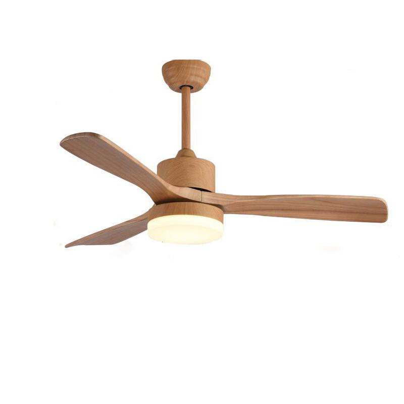 Ventilateur de plafond de lustre moderne à LED avec 3 feuilles de bois pour salon ou chambre à coucher - 43 pouces