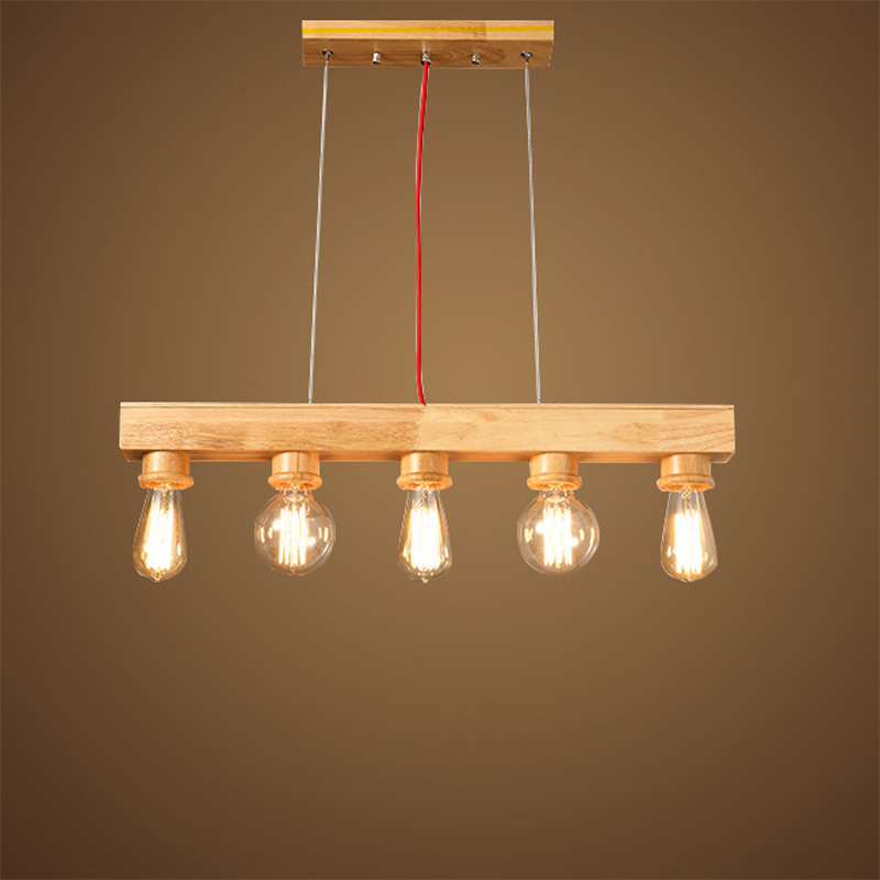 Lustre, lustre en bois de restaurant créatif de chambre à coucher lustre nordique