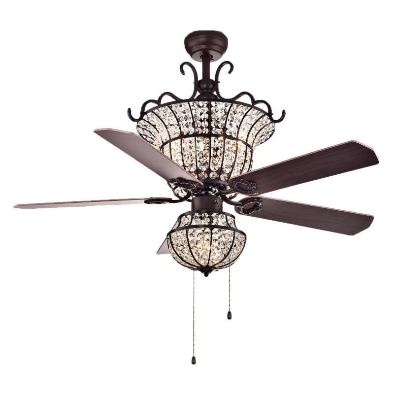 Ventilateur de plafond à économie d'énergie avec lames et lampes en bois en sourdine