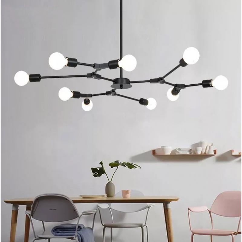 Lustre moderne luciole noir lustre semi-intégré lustre lampes de restaurant lustre industriel
