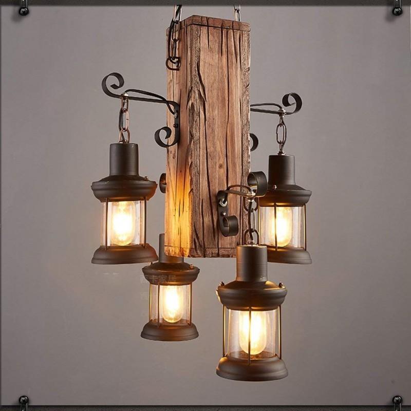 Lustre rétro industriel - Lampes en bois pour restaurants et bars créatifs