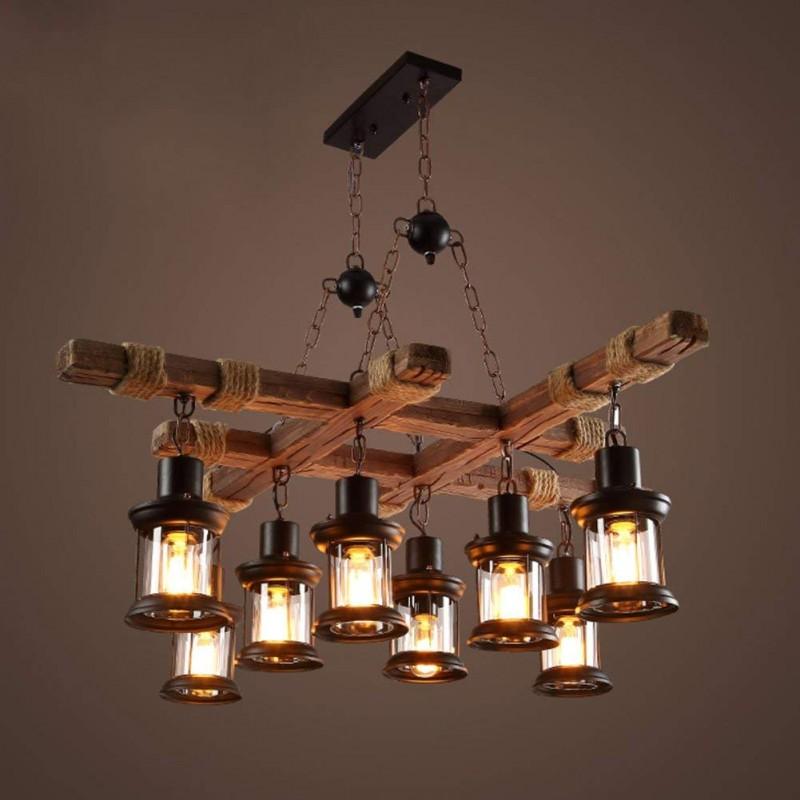 Lustre vintage en bois de style industriel à 8 têtes - Qualité supérieure - Design personnalisé