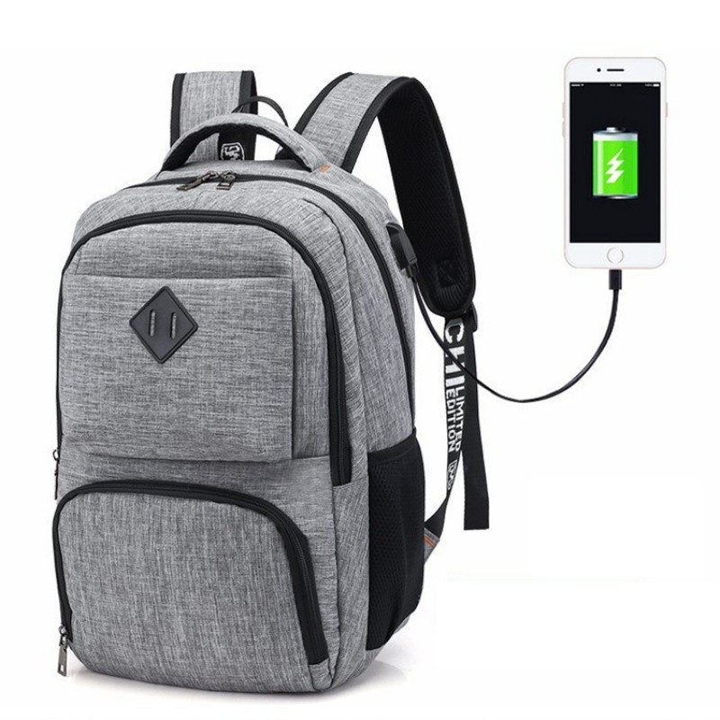 Sac à dos étudiant, Oxford en tissu Sac à dos scolaire Durable Voyage Sac à dos pour ordinateur portable avec port de charge USB Livre sac d'école Sac à dos pour hommes et femmes
