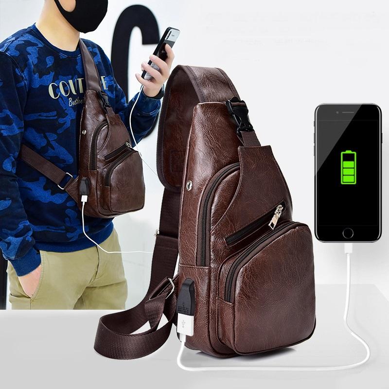 Sac bandoulière en cuir vintage pour homme avec bandoulière et bandoulière avec sac de charge USB