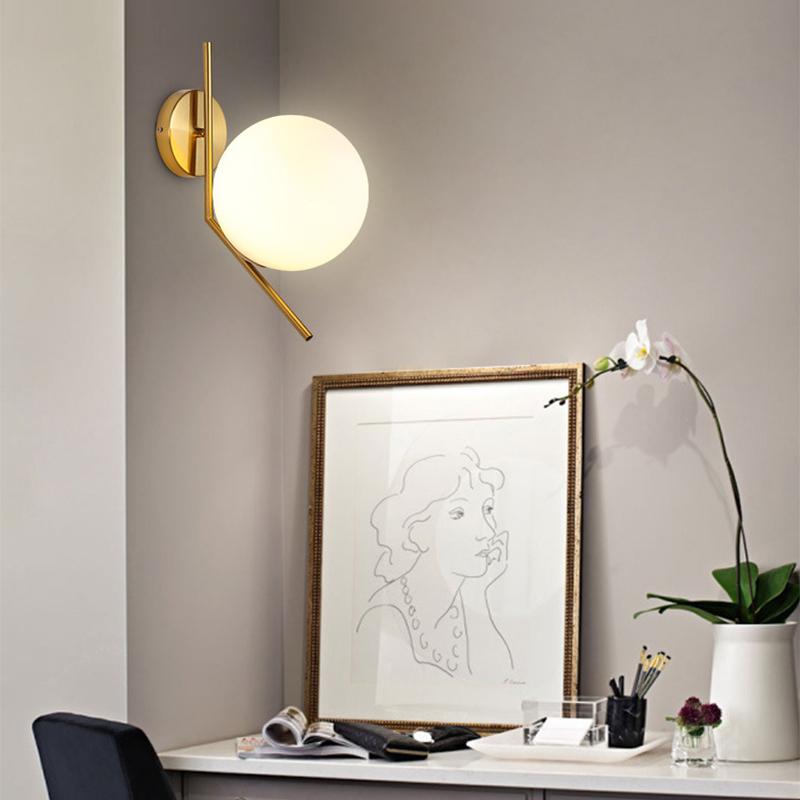 Boule de verre applique murale salon chambre nuit balcon balcon couloir couloir en fer forgé personnalité créative lampes