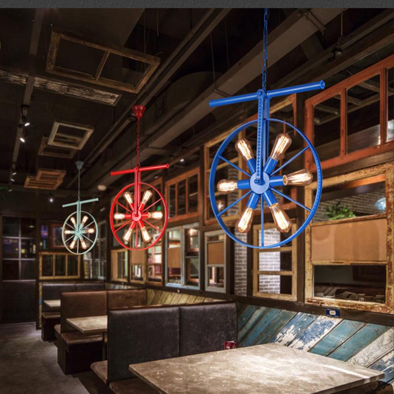 Lustre en fer à vent industriel roue décorative pour café Internet café restaurant bar clubhouse café