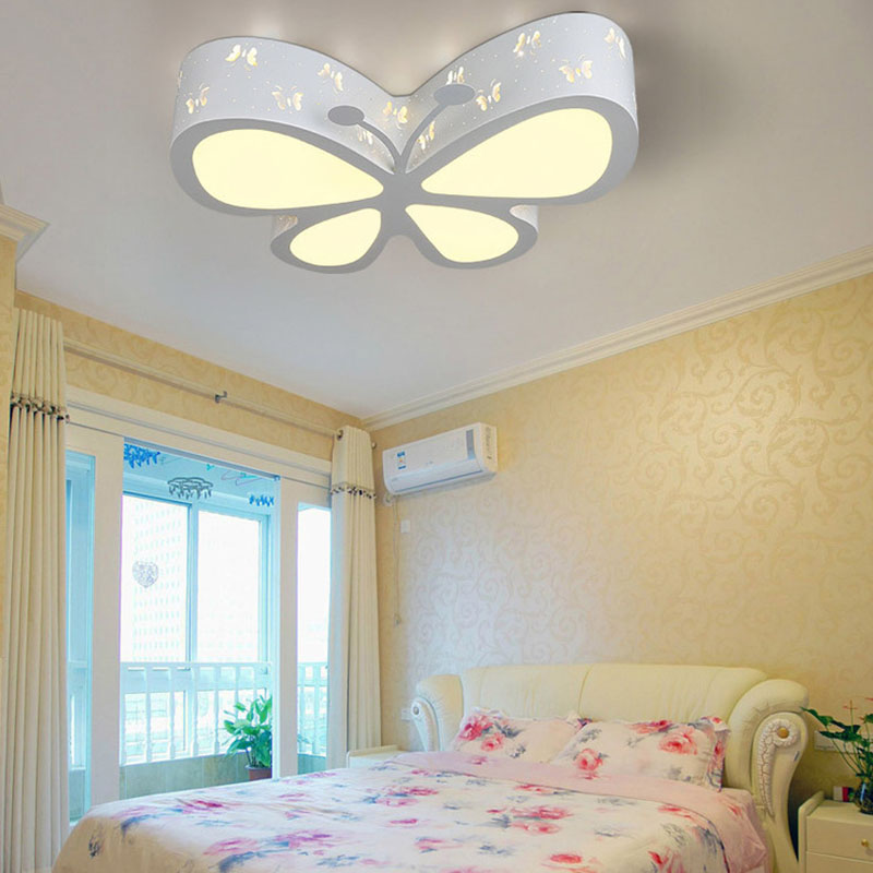 Chambre d\'enfant Plafonnier Chambre Lampe LED Créative Papillon Éclairage  Jardin d\'enfants Filles Princesse Éclairage d\'ambiance