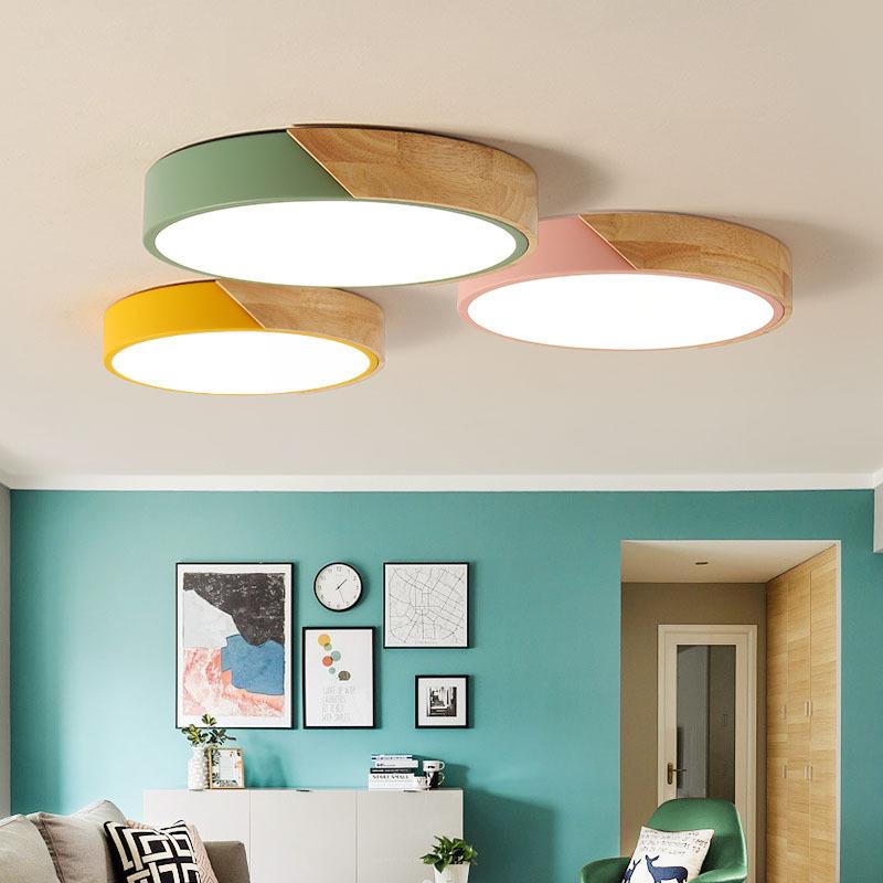 Moderne simple rond plafonniers en métal avec caoutchouc bois acrylique matériel coloré plafonniers LED plafonnier lampe, noir, Dia 50cm